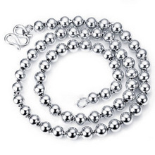 Accessories  s925 pure silver big round beads necklace  for men or women /birthday gift/ free shipping(China (Mainland))