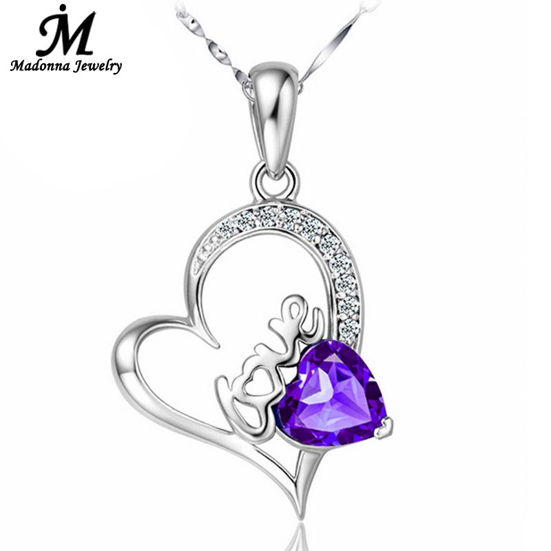 Fashionable Women White Purple Letter Love Crystal Heart Shaped Fashion Silver Plated Necklace Pendant Female Jewelry Wholesale(China (Mainland))