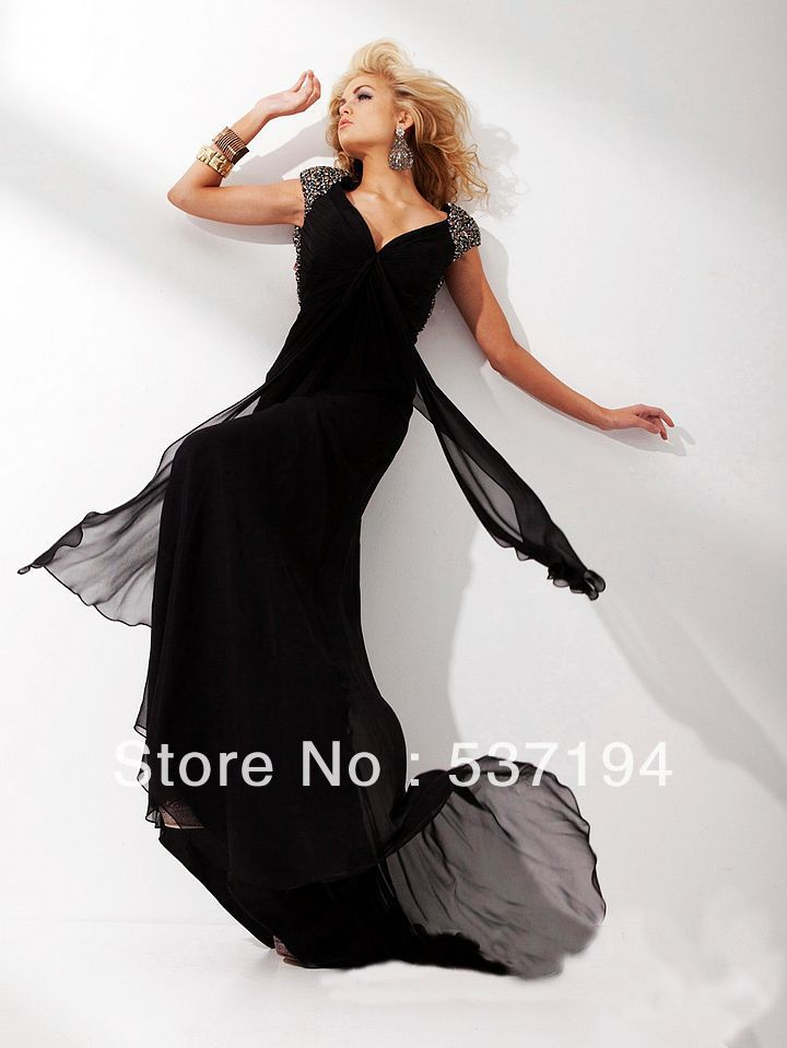 Hot Sale Free Shipping Custom Made A-Line Modest Black Color Sexy Backless Beaded Cap Sleeves Evening Dresses(China (Mainland))