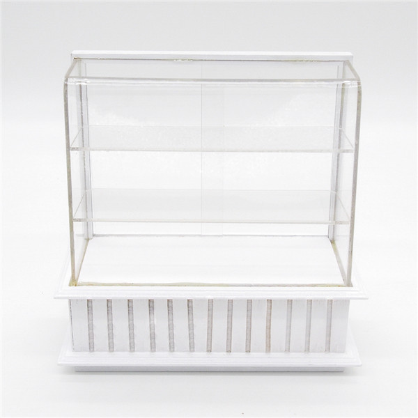 1:12 Miniature White Display Bakery Shop Cabinet Counter Shelving Case Dollhouse Kitchen Furniture Doll Accessories(China (Mainland))