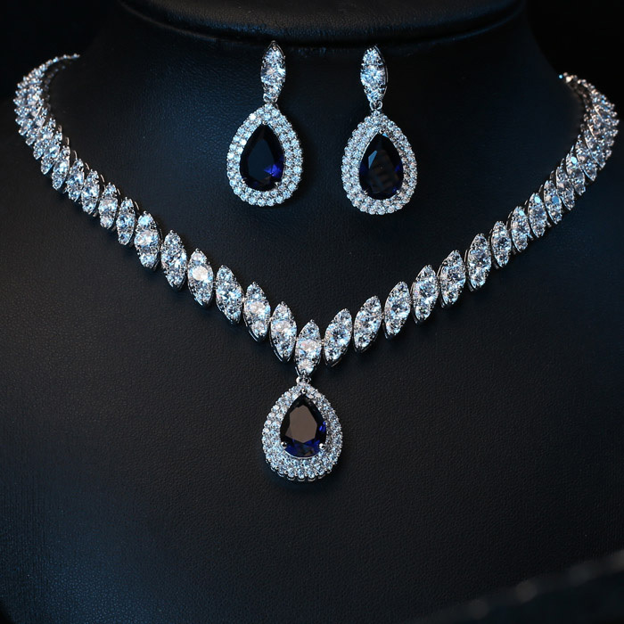 Platinum Plated AAA Blue Cubic Zircon Jewelry Sets ,Earrings /Necklace,Promotion,Nickel Free, Factory price  -  Yashow Co.,Ltd( Yuki Store  store)