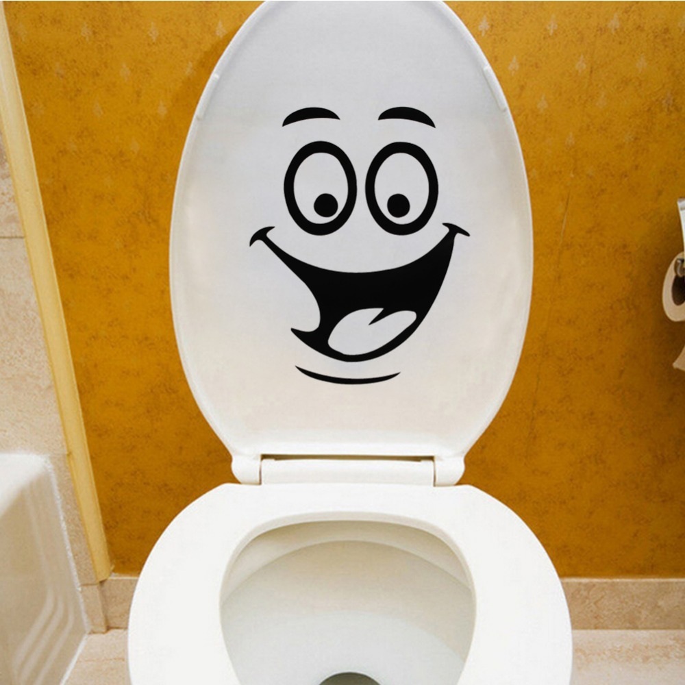 Smiley face toilet decal wall mural art decor funny bathroom wc sticker vinyl 5 - Decor wc ...