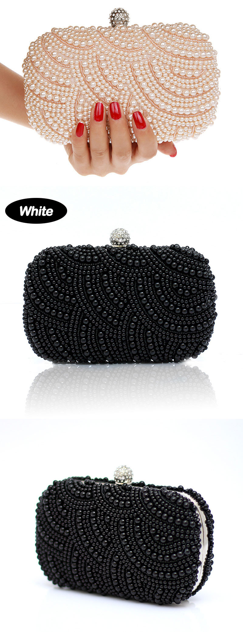 2016 Hot Fashion Women Beaded Rhinestone Flap Handbags Hard Box Ladies Beading Party Clutch Bags Small Shoulder Messenger Bags