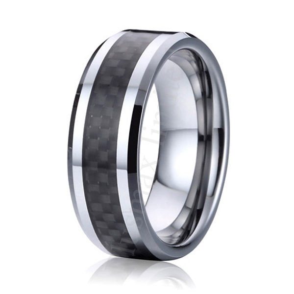 high polishing comfort fit 8mm Black Carbon Fiber pure titanium Rings Mens Wedding Band alliance anniversary gift USA size 6 -13