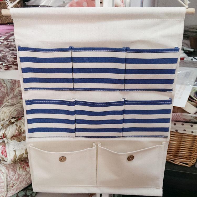 8 Pocket Multilayers Stripe Cotton Waterproof Wall Hanging Storage Bags Door Storage Organizers Free Shipping(China (Mainland))
