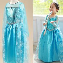 2016 top quality elsa dress girls Cosplay Dress Costume  princess anna Dress Kids party dresses fantasia infantis vestido Menina