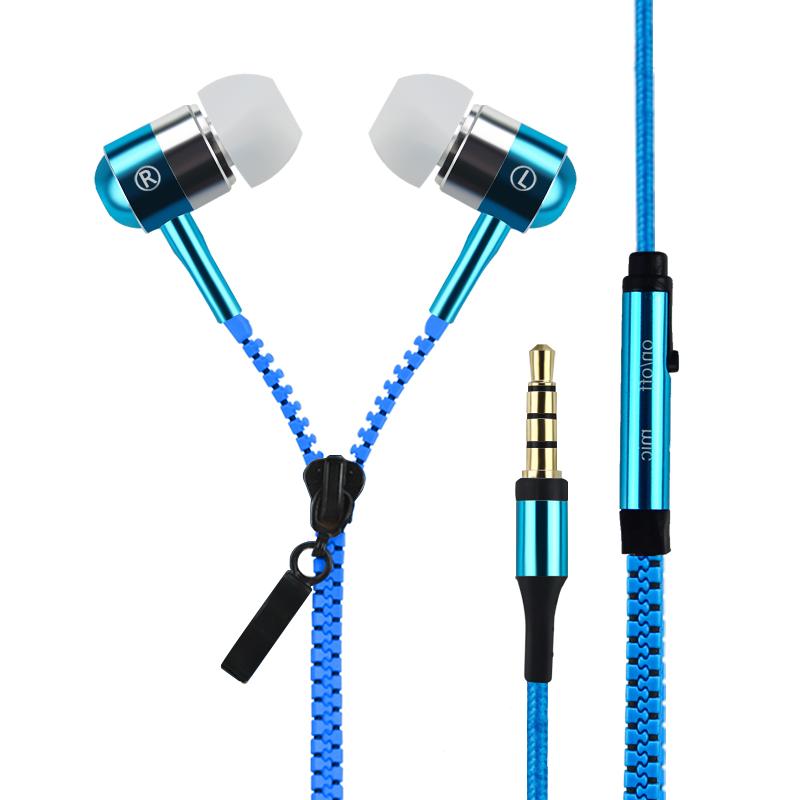 New In Ear Cheapest Earphones Earbuds MP3 Cute Zipper Earphones Mobile Phone 3.5mm Fone de Ouvido Music Earphone Zipper with Mic(China (Mainland))