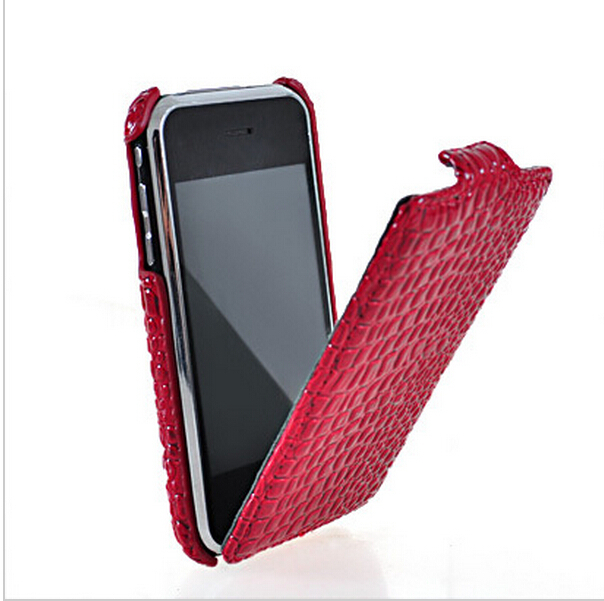 For iPhone 3g 3gs case high quality Crocodile pattern Leather for iphone 3gs Case cover Flip Pouch Cover + Screen Protector(China (Mainland))