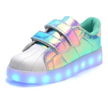 2016 Children Shell Toe USB Charging Shoes, Kids Led Light Luminous Seakers ,Boys And Girls Fashion Entertaining Casual Shoes(China (Mainland))