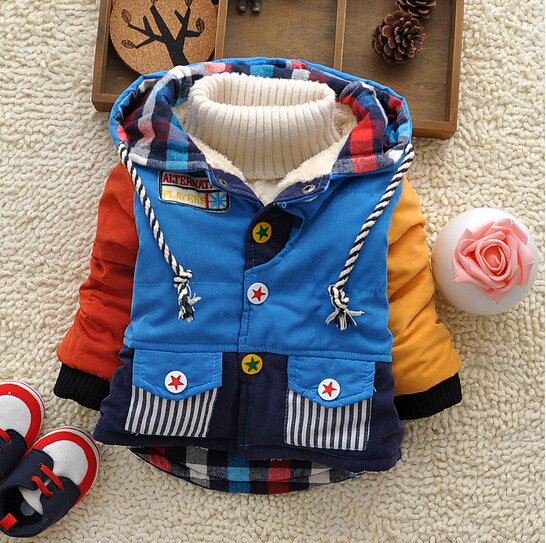 2015 New winter children outerwear baby boys thick warm fleece lining hooded coat with five-star buttons kids outfits<br><br>Aliexpress