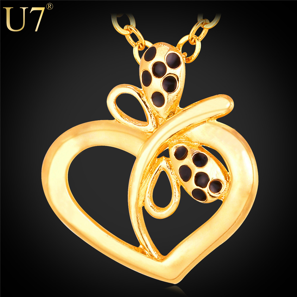 U7 Love Heart Necklaces Fashion Jewelry For Women 18K Real Gold Plated Heart With Butterfly Necklaces Pendants Wholesale P663(China (Mainland))