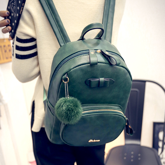 Preppy Style Women Backpacks PU Leather Rivet Backpack With A Bow Korea Style lady daily  Shoulder Bags<br><br>Aliexpress