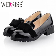 2016 Big Size Ladie's Spring/ Autumn Sweet Bowtie Pumps Leisure Low Heel Shoes Women Causal Solid Shoes For Girls Women Shoes