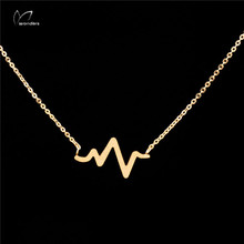 Wholesale 30pcs/lot 2014 Gold/Silver PVD Stainless Steel Electrocardiogram Necklace Punk Jewelry Heart Beat Pendant Necklace