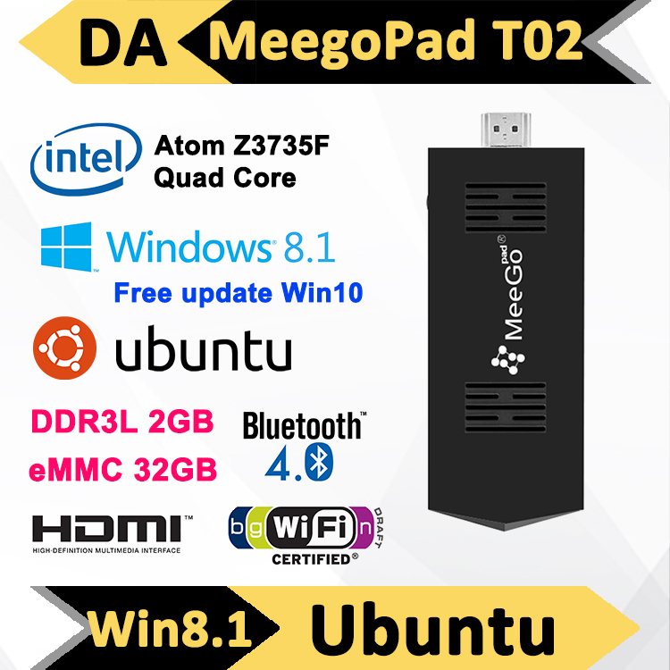 MeeGoPad T02 2G 32GB Unbutu & Win 8.1 Mini PC TV Stick Quad Core Intel Atom Z3735F HDMI TV Box Player Compute Stick Best Price(China (Mainland))