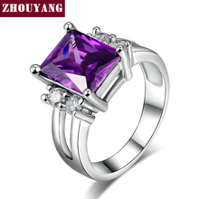 White Gold Plated Plated Princess Cut Big Purple Crystal Bijoux Fashion Ring Jewelry For Women As Promise Gift ZYR495(China (Mainland))