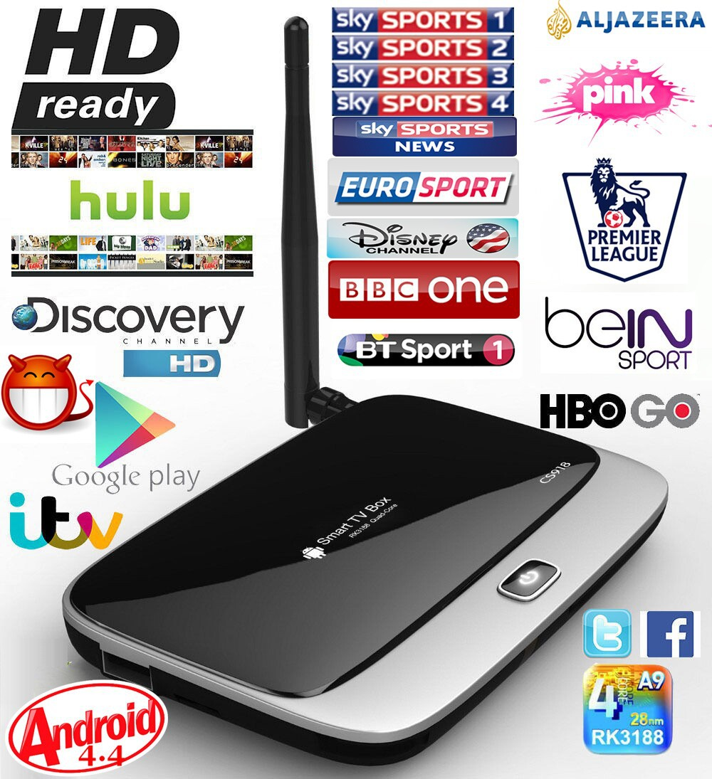 Kodi Fully Loaded Android 4.4 TV Box QUAD CORE RK3188 CS918 Q7 2GB RAM 1000 free world tv Sports Kids live tv Adult movies(China (Mainland))
