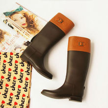 Women PVC Rain Boots Over The Knee Shoes 2017 Fashion Flat Shoes Metal Buckle Knee Long Rubber Boots Waterproof High Riding Boot(China (Mainland))