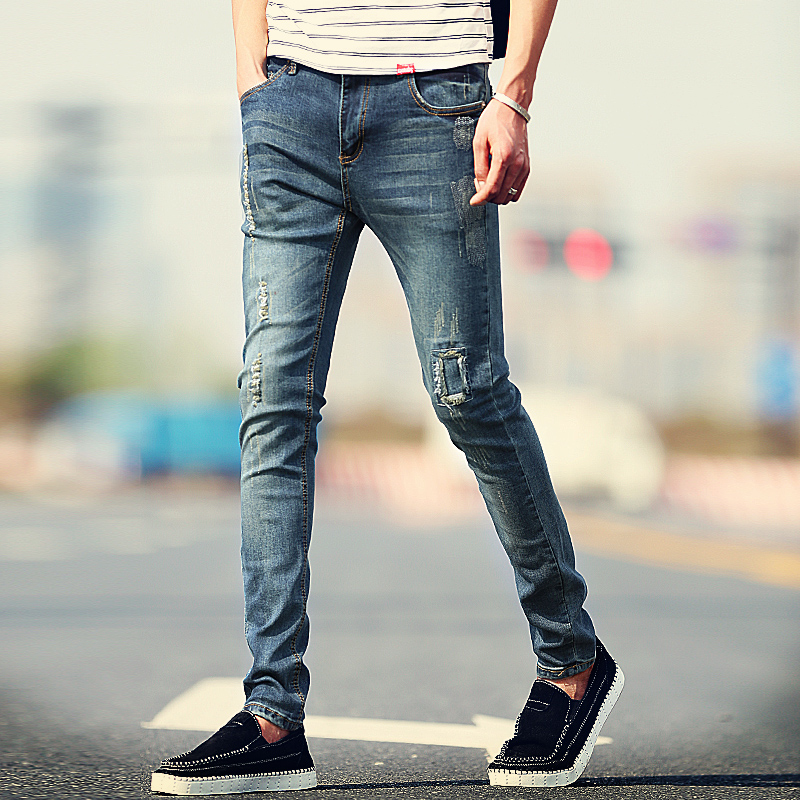 New Arrival Fashion Men's Jeans Water-washed Straight Pants Blue Ripped Jeans Men Robin Men'S Skinny Jeans Plus Size 36(China (Mainland))
