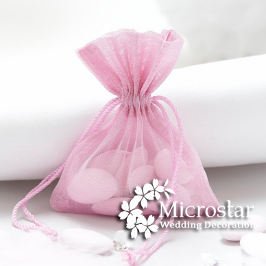 Free shipping 100pcs/lot 7*9cm pink promotional gift bag jewelry organza gift bag wedding favor pouch(China (Mainland))