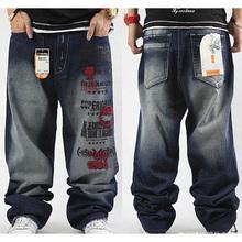 Plus Size hip hop baggy jeans men Letter Print hip hop dance pants Skateboard Jeans Loose Style most popular jeans for men(China (Mainland))