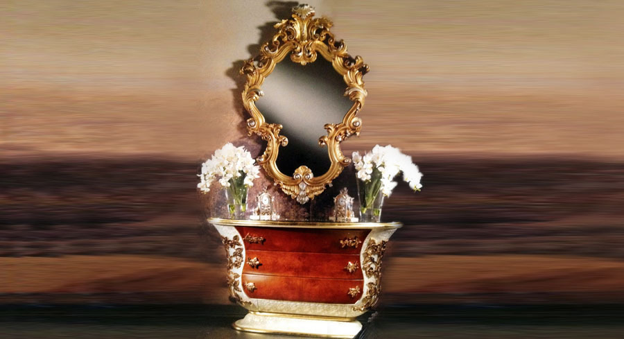 European Style Luxury Golden Wood Carved Living Room Set Chest and Mirror(China (Mainland))