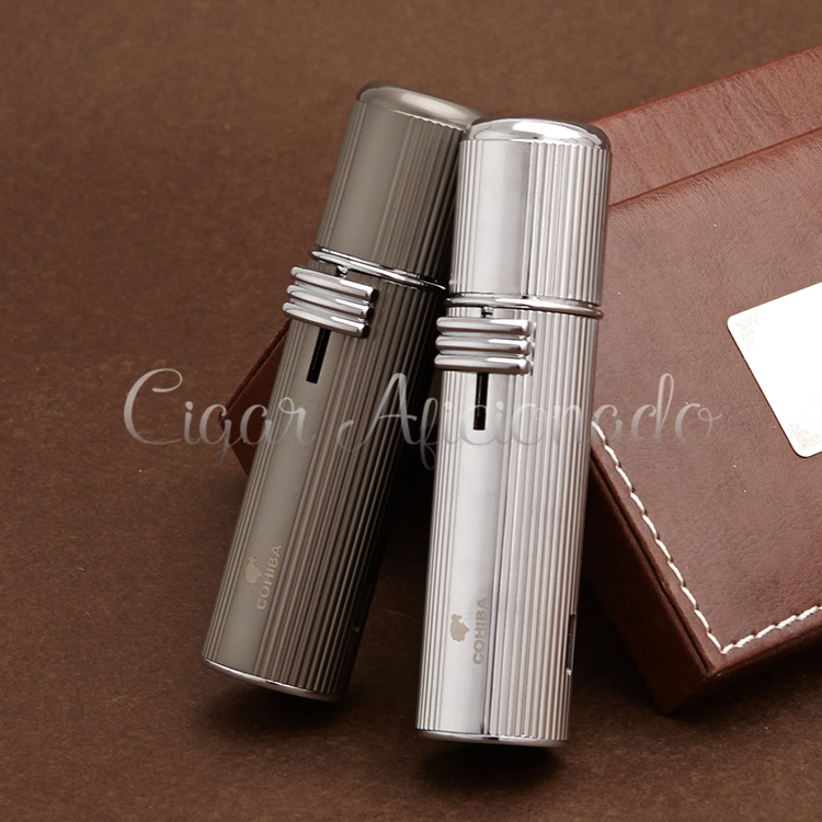 COHIBA New Gadgets High-end Kettle Style Pocket Size Multifunctional Metal 3 Torch Jet Flame Cigar Lighter W/ Cigar Punch(China (Mainland))