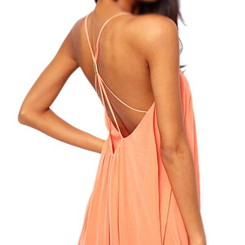 SZS Hot New Summer Sexy Women Clothing Spaghetti Strap Dresses Backless Chiffon Beach Dress Pink S(China (Mainland))