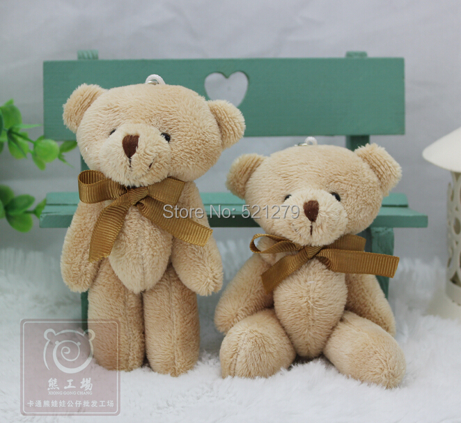T108 Free shipping 24pcs/lot Promotion 12CM bow tie brown teddy bear mini joint plush keychain bear bouquet toy/phone pendant(China (Mainland))