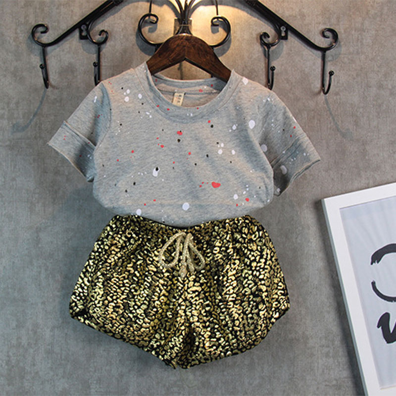 2016 NEW summer style girls clothes Paint points tops+Leopard grain shorts 2pcs baby girls clothing set kids clothes(China (Mainland))