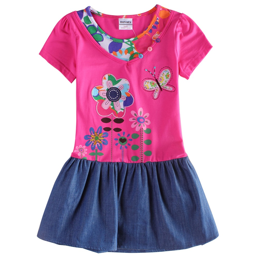 2 design nova kids summer 2015 new short sleeve cartoon patten floral embroidery girl dress nov akids children lclothes - NOVA & NOVATX Factory Store store