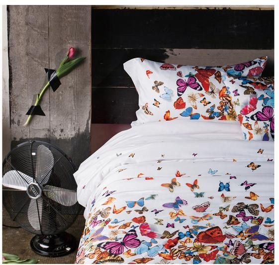 Soft satin cotton LAURA ASHLEY luxury bedding set butterfly comforter set 4pcs fabrics bed linen(China (Mainland))