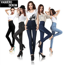 High Waist Jeans Women 2015 Hot Sale American Apparel Skinny Pencil Denim Pants Fashion Pantalones Vaqueros Mujer Plus Size G11