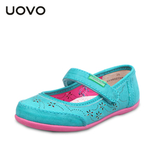 UOVO hollow out flower children shoes girls princess shoes kids girl leather shoes girls dress shoes for 3 - 9 years old(China (Mainland))