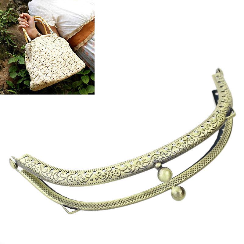 Attractive 2PCs Hot Metal Purse Bag Frame Kiss Clasp Lock Bronze Tone 13cm x6.5cm B31695(China (Mainland))