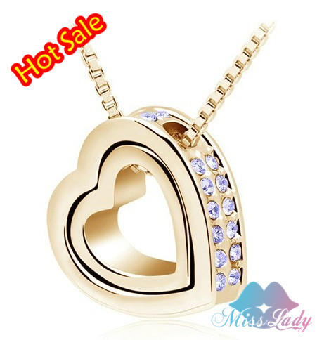 18K Gold Plated Austrian Crystal design Brand Heart pendant necklace Fashion Jewelry for 2016 women 2891