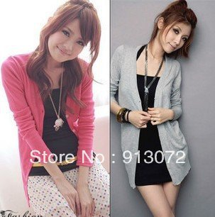 SW01 New Fashion Women's Cardigan Sweater Long sleeve Casual Slim Cotton Knitwear Coat Trench, 10 colors, 2 pcs a lot