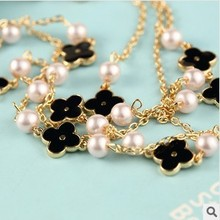 2014 New Girl s Fashion Women Sweater Chain Clover Long Multilayer Pearl Necklace Flower Jewelry X027