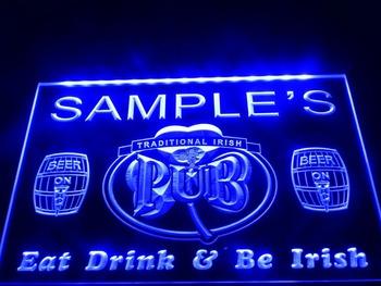DZ002- Name Personalized Custom Irish Pub Shamrock Bar Beer Neon Sign hang sign home decor shop crafts led sign
