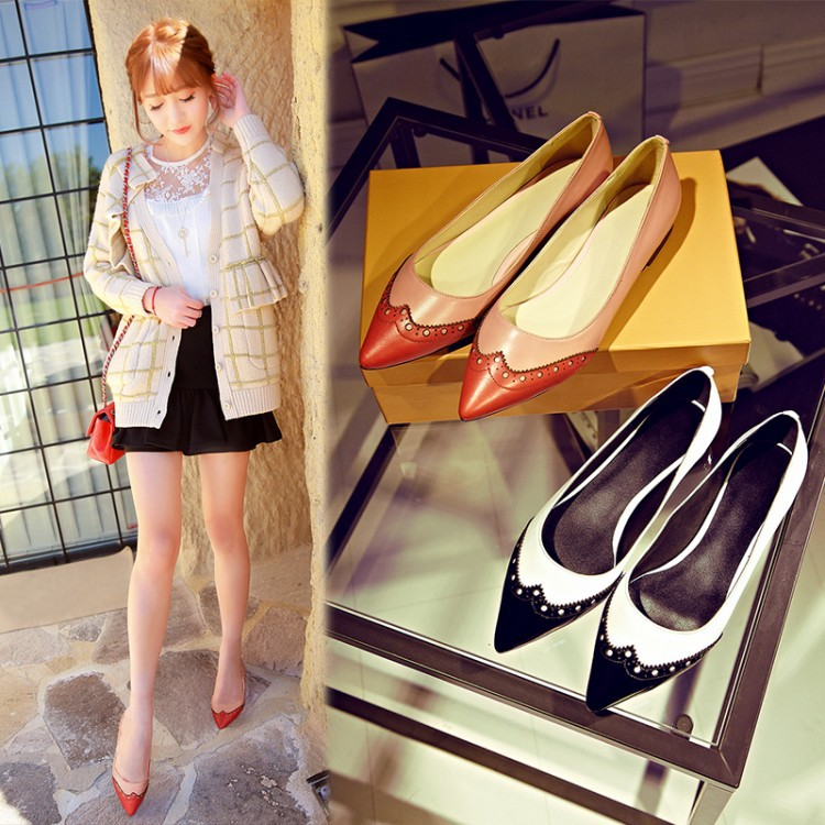 Spring sweet genuine leather fashion women shoes pointy shoes flats A2627(China (Mainland))
