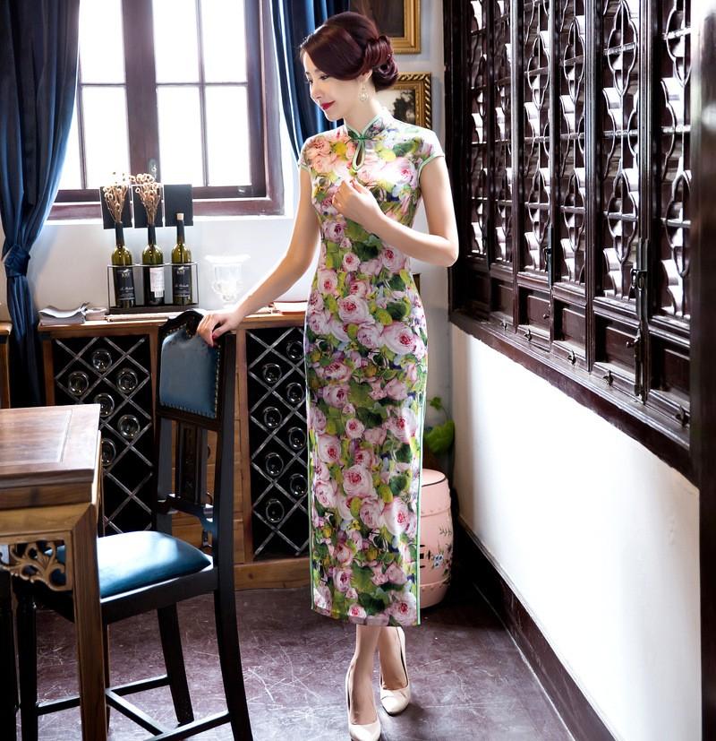 มาใหม่สตรีผ้าไหมยาวCheongsamจีนแฟชั่นสไตล์การแต่งกายที่สวยงามบางQipaoรสเสื้อผ้าขนาดSml XL XXL F072601 ถูก