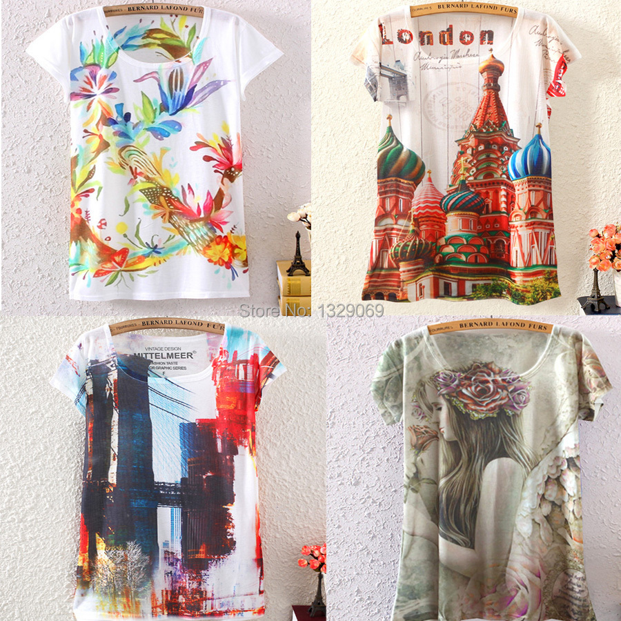 New 2014 hot women summer Plus size t shirt street printed casual Fashion Short Sleeved Round Collar woMen's t-shirt O-neck T(China (Mainland))