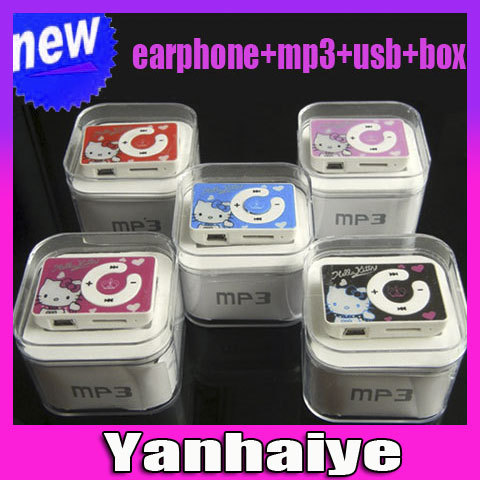 12pcs new mini clip hello Kitty MP3 player support TF card with USB Cable Earphone Crystal Box Free shipping(China (Mainland))