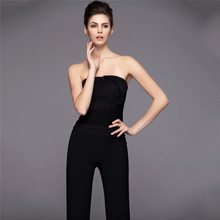 Sexy Bra brand piece pant elegant ladies Slim catsuit,women strapless jumpsuit,sexy black rompers,body femme Overall pants TT823