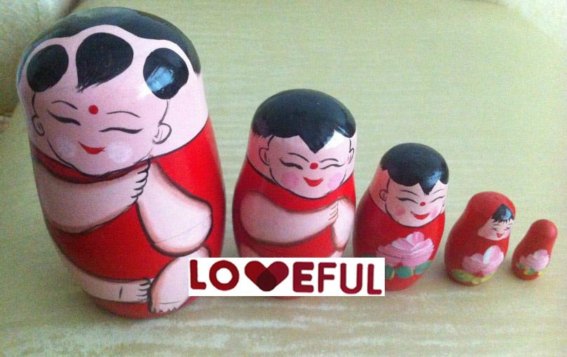 Nouvelle qualité 5 peças de chinois garçons belle bois poupées russes pour les cadeaux pour enfants jouet --- Loveful(China (Mainland))