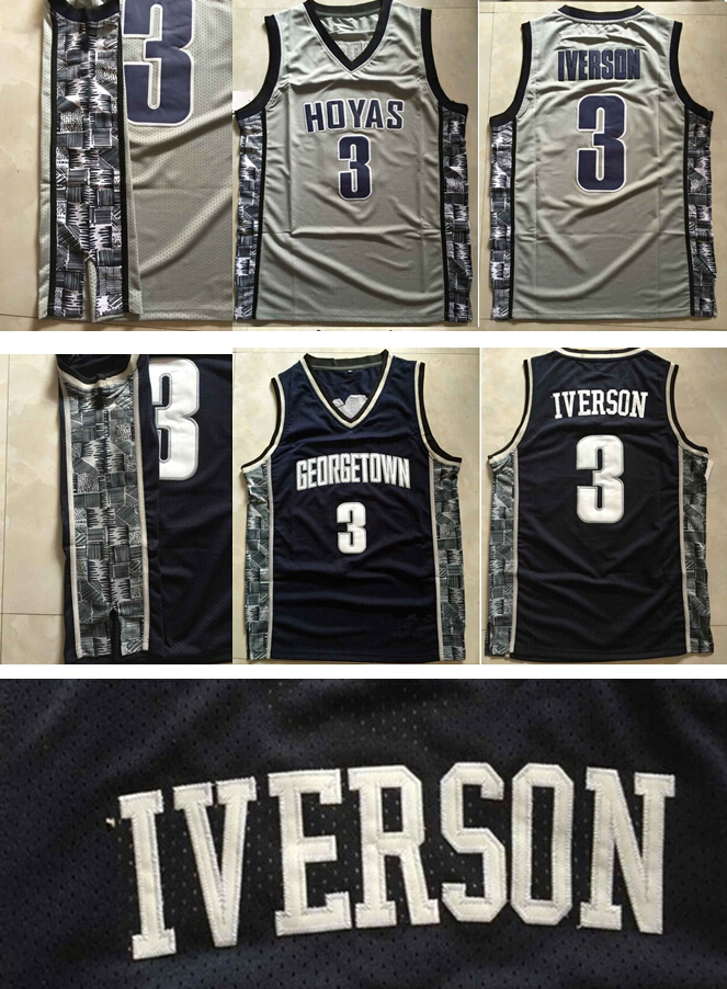 New Arrival #3 Allen Iverson Georgetown Hoyas NCAA College Jerseys Throwback Retro Jersey Rev 30 Embroidery Basketball Jersey(China (Mainland))