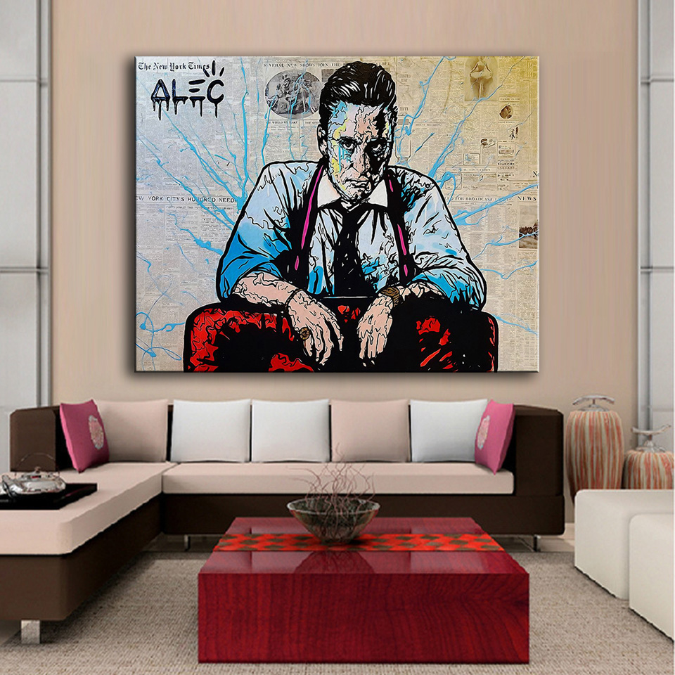 Large size Printing Oil Painting a man Alec monopoly Graffiti art Wall painting Decor Wall Art Picture For Living Room painting(China (Mainland))