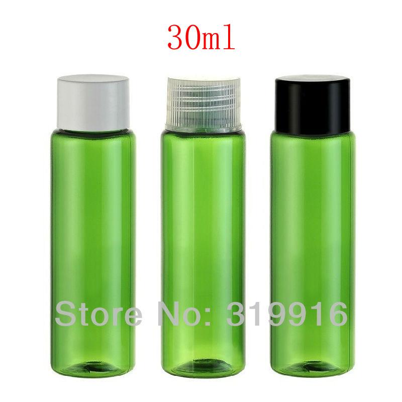 wholesale 30ml green PET screw lid cap empty plastic bottle for cosmetics ,cosmetic bottles , travel plastic bottle 100pc/lot(China (Mainland))