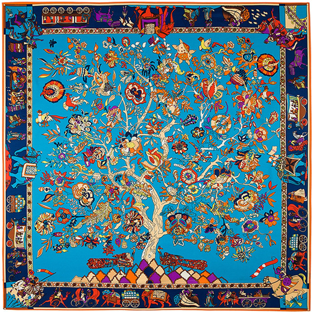 Sweet Girl hot sale Europe and American style 130*130cm life of tree pattern women silk square scarf(China (Mainland))