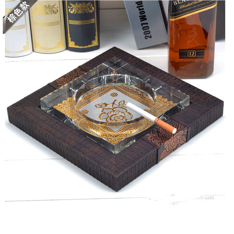 antique square crystal cigar ashtray cigarette ashtrays with wood leather pedestal base hotel home office decoration 371(China (Mainland))
